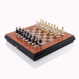 黑白黄色驼色正方形国际象棋高端装饰装饰实木棋盘欧式样板间摆件