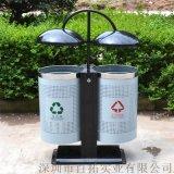 户外不锈钢圆形垃圾桶公园圆形双桶分类垃圾桶