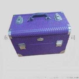 PU皮革化妆箱手提双开彩妆箱美容美甲工具收纳箱