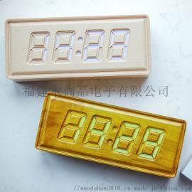 原木雕刻充电款蓝牙音箱音频播放小程序控制渐变色时钟