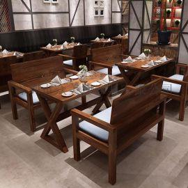 美式乡村原木桌子茶餐厅实木餐桌松木餐桌众美德可定做