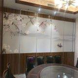 餐厅活动隔断墙 移动推拉屏风 饭店包厢贴画折叠门