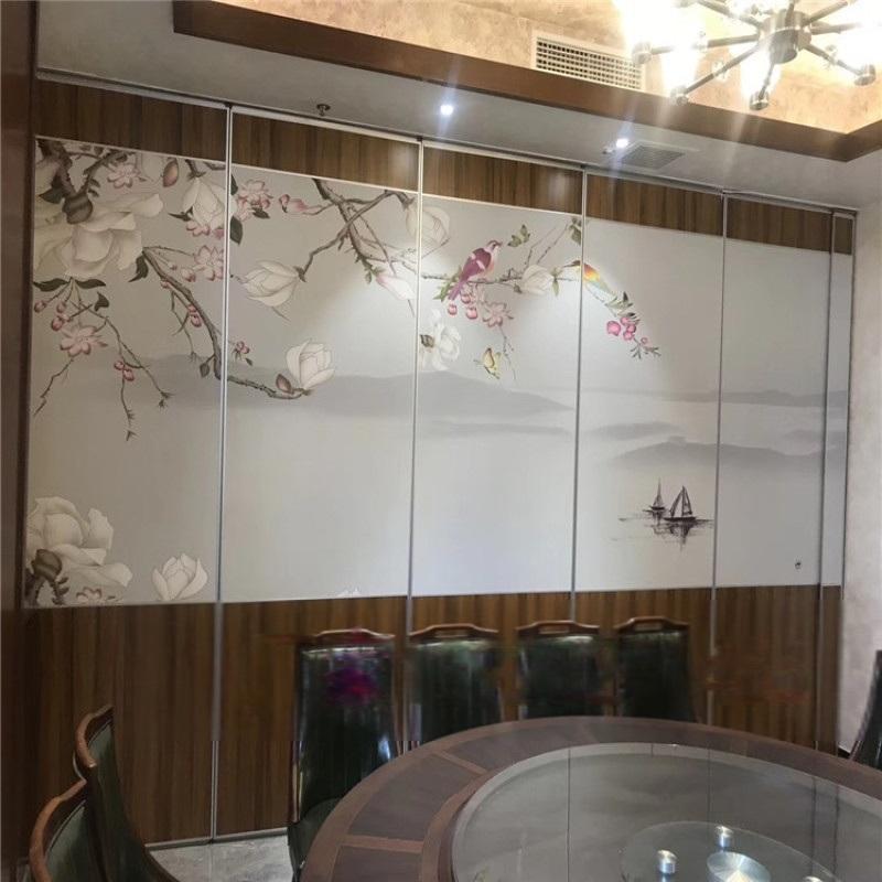 餐廳活動隔斷牆 移動推拉屏風 飯店包廂貼畫摺疊門