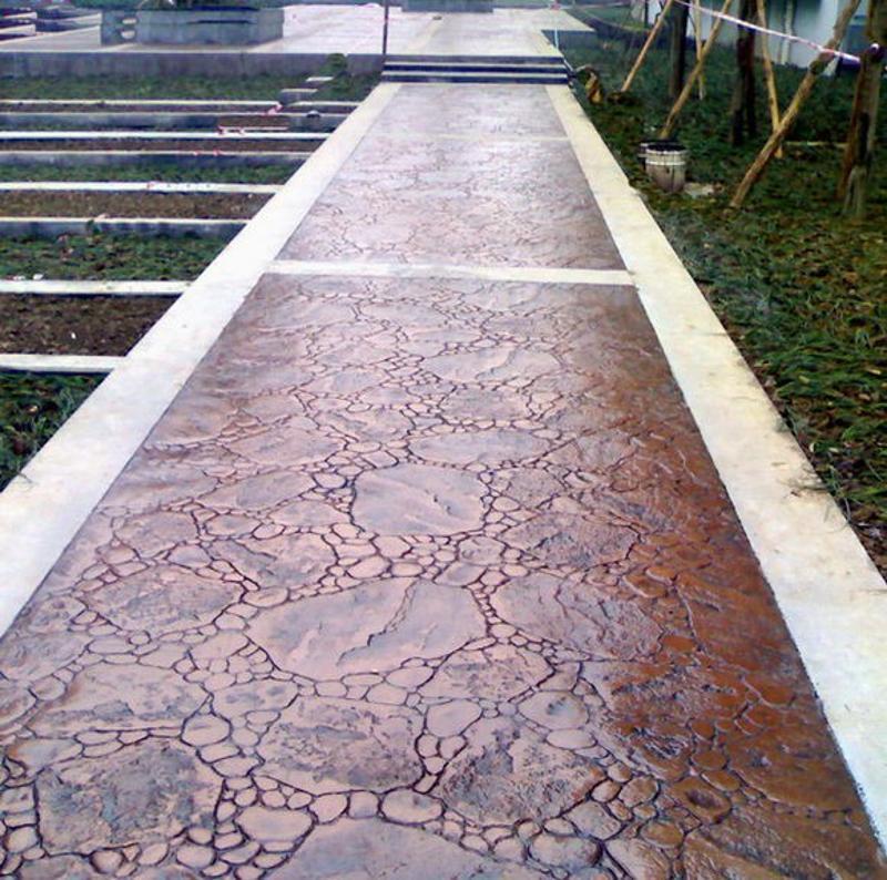 安徽藝術壓模地坪彩色混凝土壓花道路仿石仿木仿古紋理地坪工藝報價