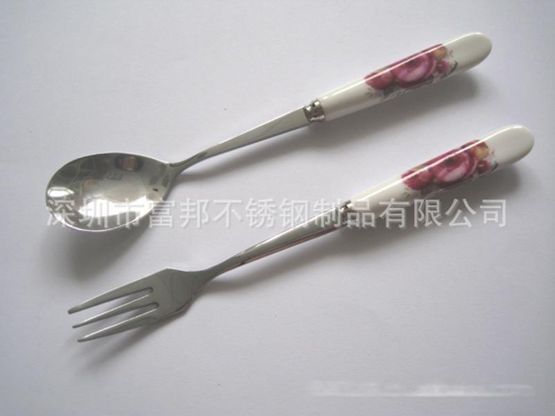 陶瓷柄勺叉, 骨瓷勺叉(多种花色任选)