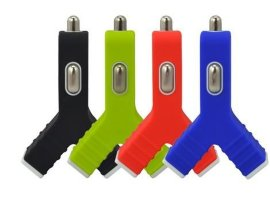 CE认证USB车载手机充电器 5V2.1A开叉型车充 Y字型车载充电器