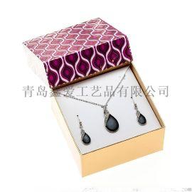 欧美时尚精品盒装耳环项链套装