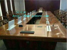 供应北京实木多媒体  显示器升降会议桌