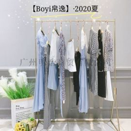 品牌折扣女装帛逸高腰显瘦连衣裙直播同款货源
