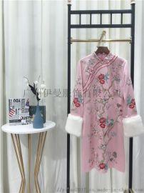 深圳原创设计奥妃雅秋冬装复古民族连衣裙外套折扣