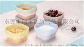 户外便携野餐饭盒 方形硅胶折叠碗带盖 旅行硅胶碗