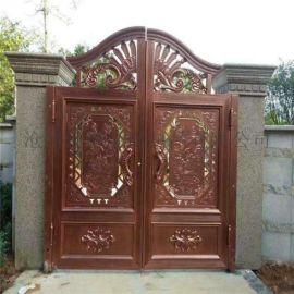 昆明盘龙区铝艺欧式大门红古铜铁艺围墙护栏
