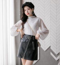 2020新款洗水pu皮a字裙韓版高腰顯瘦拉鏈半身裙短裙女潮
