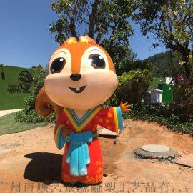 松鼠卡通玻璃钢雕塑商场美陈奶茶店公园景观雕塑