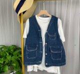 夏季新款chic韓國復古學院風寬鬆牛仔馬甲女百搭寬鬆上衣外套