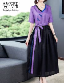 苎麻棉麻亚麻连衣裙女装夏季2020年  流行款民族风复古  裙子