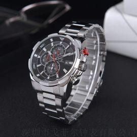 新款定制不锈钢手表  六针时尚男士石英手表质量保证