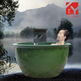 家用陶瓷泡澡缸 日式洗浴圆形温泉缸 成人陶瓷大缸
