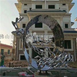 售楼部不锈钢圆环雕塑 特色不锈钢雕塑定制