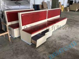 定制茶餐厅卡座沙发储物柜沙发带抽屉沙发生产厂家