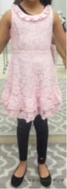 娃娃领粉色无袖绣花公主裙