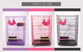 猫笼子大中小型号多层加密折叠龙猫猫别墅不锈钢