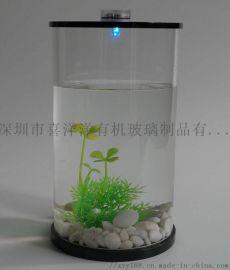 亞克力圓形水母缸透明圓柱形金魚缸廠家直銷可定投制