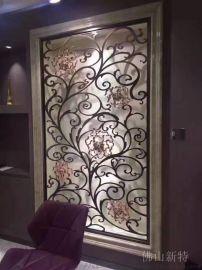 新中式铝板雕刻屏风餐厅装饰铝艺花格隔断