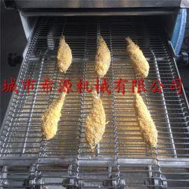 **乳山鲅鱼油炸机 速冻小黄鱼上浆上糠油炸生产线