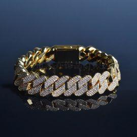 廠家直銷歐美流行嘻哈飾品12mm菱形手鏈