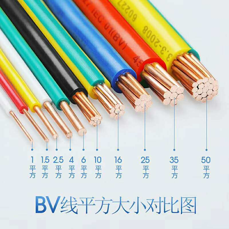 PVC绝缘BV电线无氧铜家装照明布电线室内监控安防