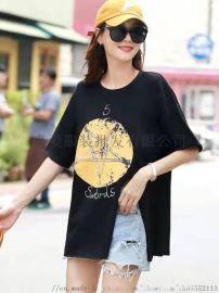 新款爆版女T恤 纯棉男女T恤 广州库存女装T恤
