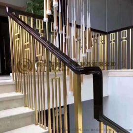 别墅钛金不锈钢楼梯扶手 实心轻奢不锈钢立柱护栏