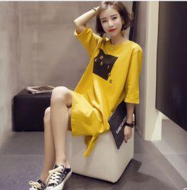 批发2020夏季女装韩版短袖T恤女士学生中长款衣服女上衣