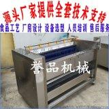 红薯去泥脱皮毛刷清洗机-全自动毛刷辊洗姜机