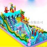 江苏徐州儿童充气滑梯蹦床广场上吸引众多小朋友