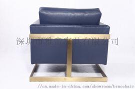 北美现代简约单人真皮沙发椅