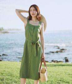 现货2020新品 EV 日本三醋酸抹茶绿复古方领宽肩带系带茶歇连衣裙