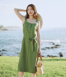 現貨2020新品 EV 日本三**抹茶綠復古方領寬肩帶系帶茶歇連衣裙