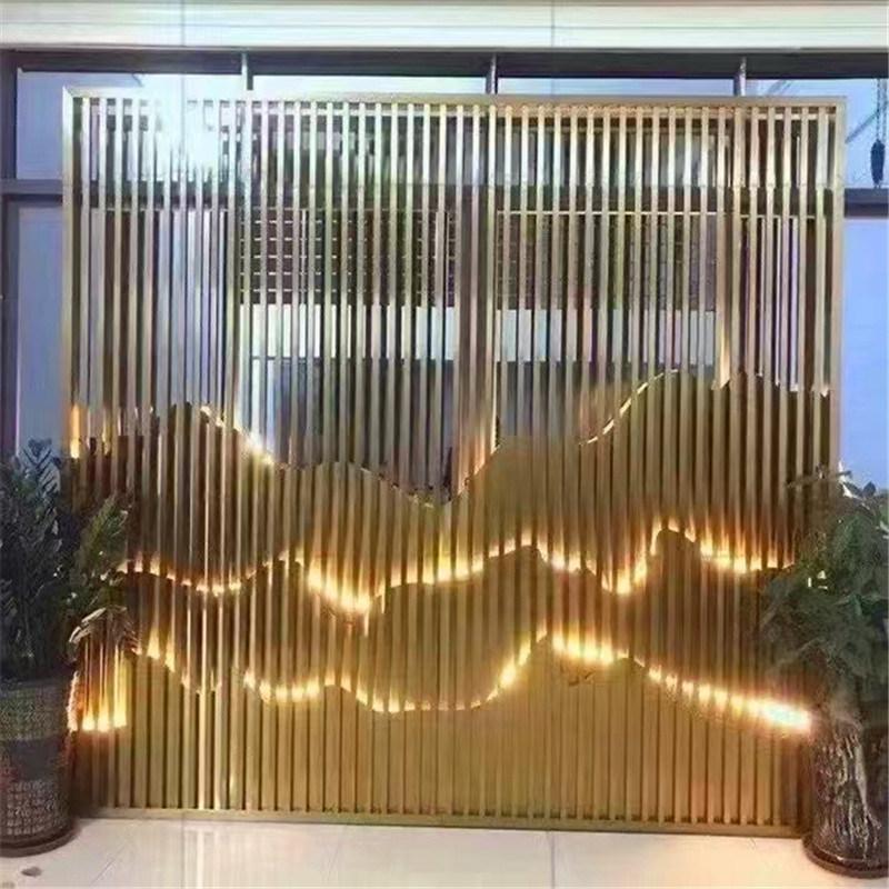 医护室背景墙格栅造型格栅 后花园隔断造型木纹铝格栅