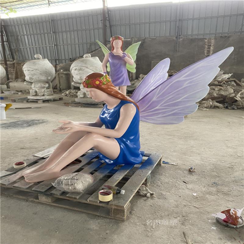 广西玻璃钢天使人物雕塑 **女神雕像