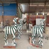 樓盤景觀幾何鹿雕塑 不一樣玻璃鋼抽象鹿羣展示