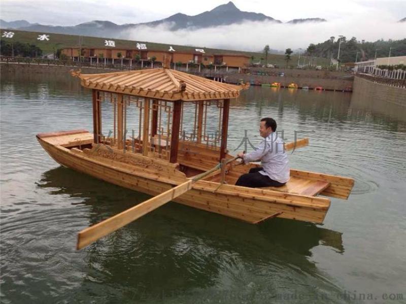 出售仿古手划单亭木船景区旅游观光船可载客6-8人