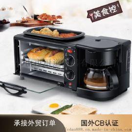 厂家直销 家用多功能三合一早餐机 电烤箱支持一件代发