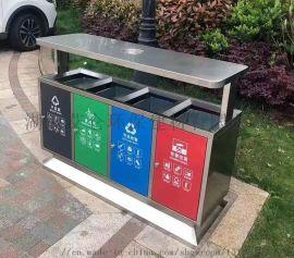 城市道路不锈钢双分类垃圾桶