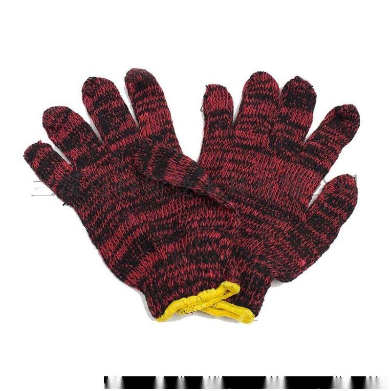 棉纱手套 7针电脑机黑红棉纱工作棉纱手套