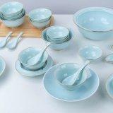 中式纯色陶瓷餐具瓷器套装景德镇手工描金影青瓷餐具