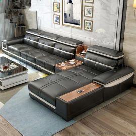 大户型多功能组合黑色皮质沙发舒适客厅家具