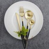 北歐風格鍍黑金西餐刀叉勺304不鏽鋼牛扒刀叉子套裝