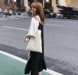 時尚新款夏季chic韓版純黑色吊帶裙無袖魚尾長連衣裙子學生女潮